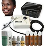 Art of Air DARK Complexion Professional Airbrush Cosmetic Makeup System / 4pc Foundation Set with Blush, Bronzer, Shimmer and