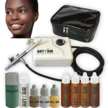... DARK Complexion Professional Airbrush Cosmetic Makeup System / 4pc Foundation Set with Blush, Bronzer, Shimmer and Primer Makeup Airbrush Kit: Beauty