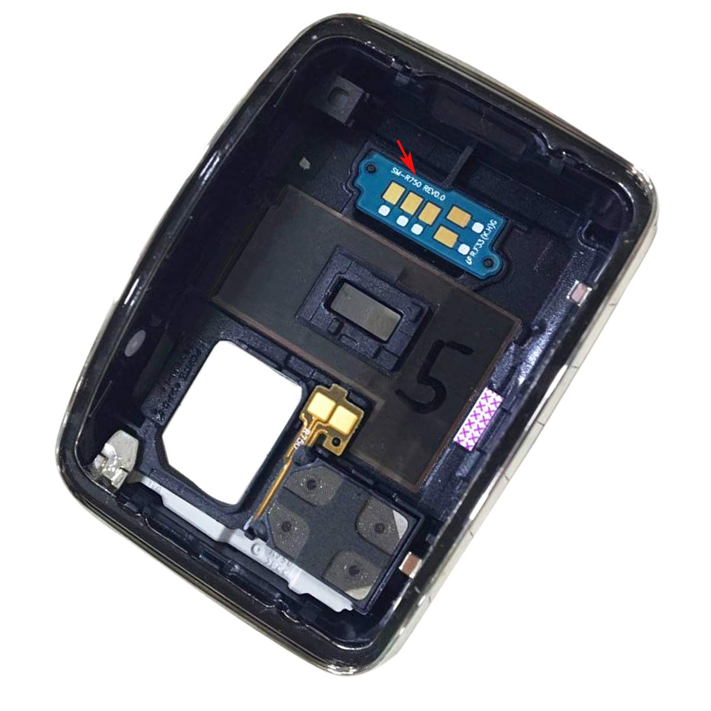 Ubrokeifixit Compatible Smart Watch Rear Back Door Housing Cover with Charging Connector Board Flex Cable for Samsung Galaxy Gear S SM-R750