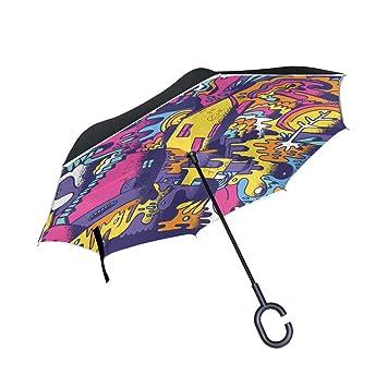 MAILIM Paraguas Reversible Plegable con Capucha Abstracta, Color Morado
