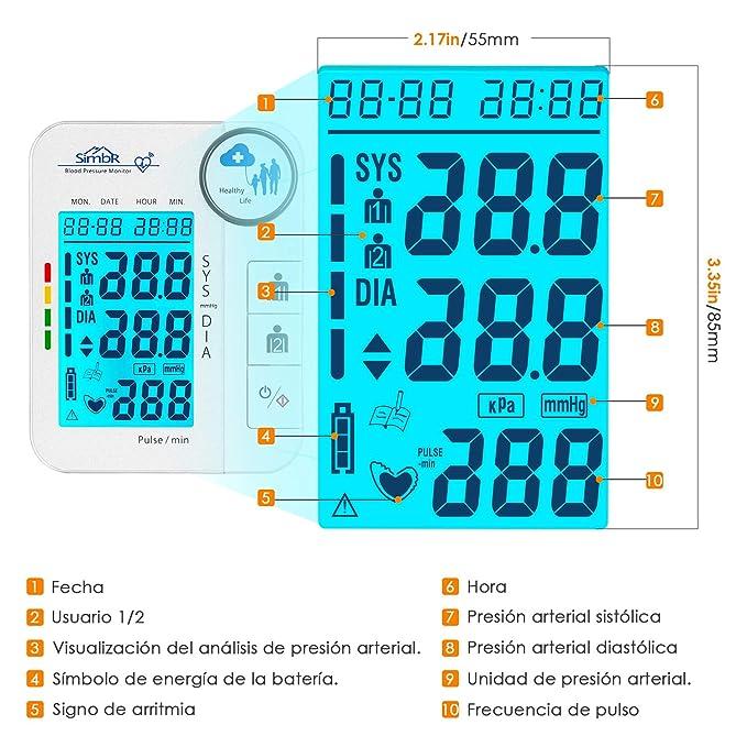 SIMBR Tensiómetro de Brazo Digital con Detección de Arrítmia Monitor de Tension Arterial con Memoria (2×128) y Gran Pantalla LED Certificada por CE ROHS ...
