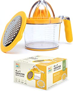 Manual Citrus Juicer Measuring Cup with Grater and Egg Separator - Orange Grapefruit and Lemon Hand Squeezer Reamer - Non-Slip Silicone Handle 20 oz 600 ml