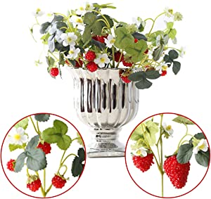 NICROLANDEE 10pcs Artificial Flowers Red Strawberry and Raspberries Fruit Real Touch Fake Silk Flowers for Holiday Garden Home Yards Office Decorations Spring Wreaths Decor