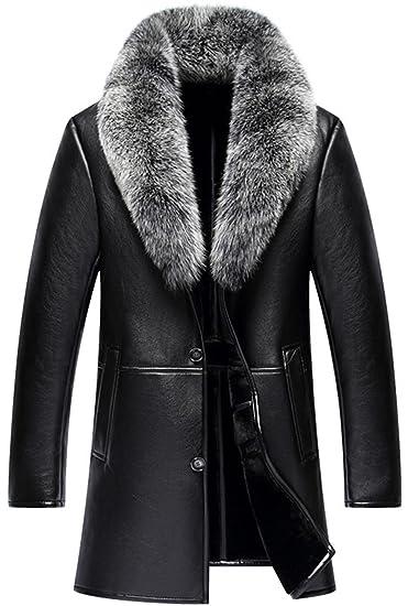 a3b44012e78 K3K Winter Mens High Faux Fur Leather Fashion Removable Fox Fur ...