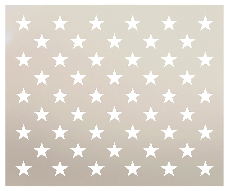 American Flag 50 Starステンシルby studior12 |再利用可能なマイラーテンプレート|使用for Making木製フラグ、芸術、工芸、DIY装飾|ペイント、混合メディア、Air Brushing | g-spec |選択サイズ 19.25 in x 16 in STCL2501 B078JZMKJH 19.25 in x 16 in