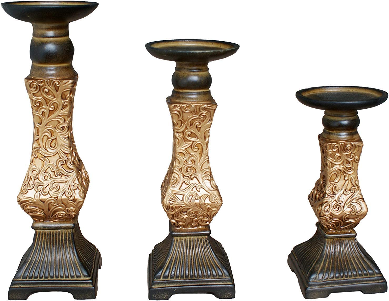 """G-mart Set of 3 Resin Pillar Candle Holders -12"""" H,10"""" H,8"""" H,Ideal for LED and Pillar Candles, Gifts for Wedding, Party, Home, Spa, Reiki, Aromatherapy, Votive Candle Gardens"""