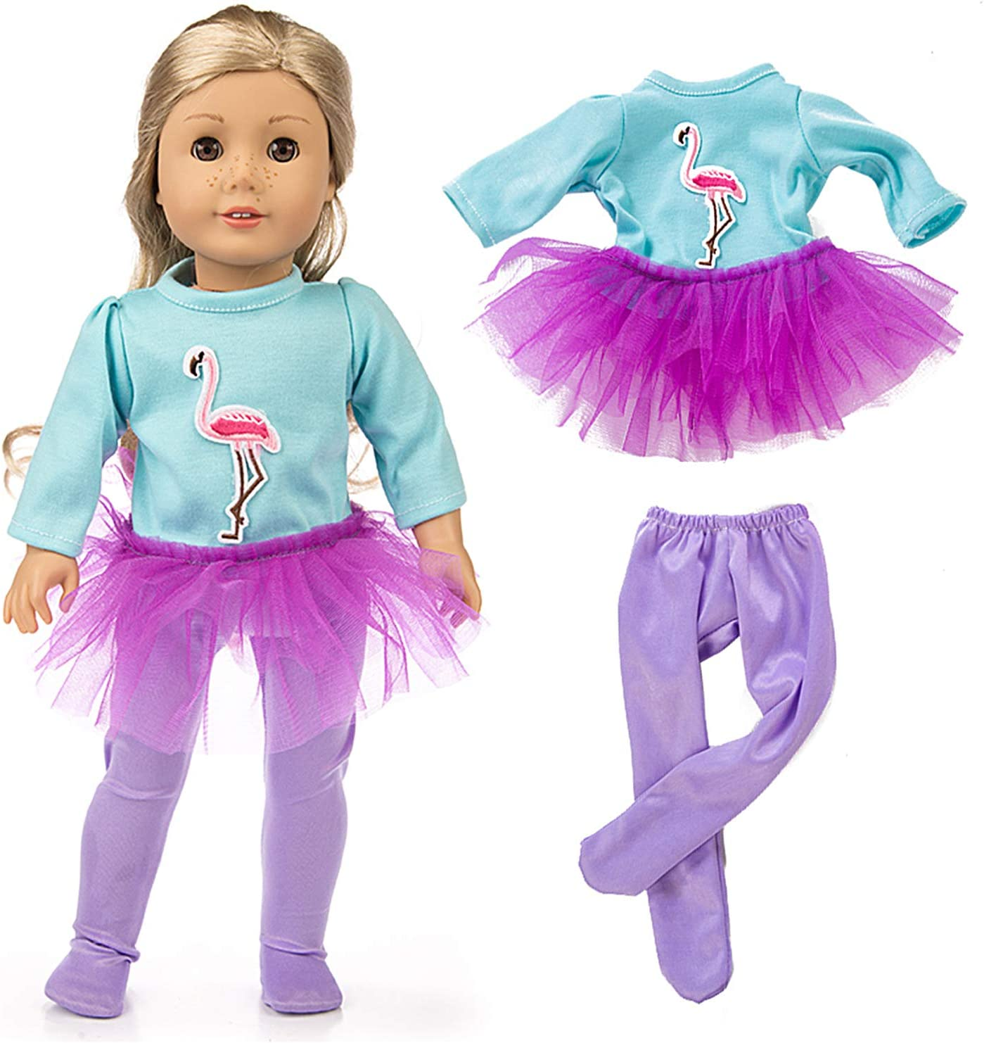 HOAYO 5 Sets Girl Doll Clothes and Accessories for 18-inch Dolls 14 Items Doll Clothes Outfits for 18-Inch American Girl Dolls