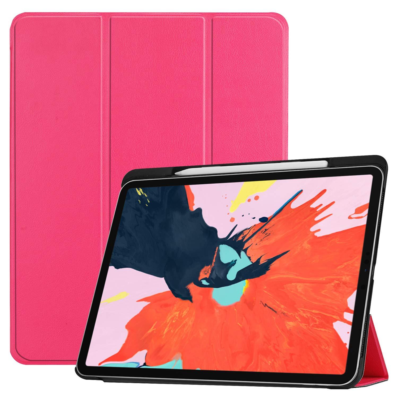 Epicgadget iPad Pro 12.9 2018用ケース Apple Pencilホルダー付き 三つ折り 自動ウェイク/スリープフォリオケースカバー (Apple Pencil充電対応) iPad Pro 12.9インチ 第3世代 2018年リリース用 Apple iPad Pro 12.9 Inches ピンク Apple iPad Pro 12.9  ピンク B07LDHZD6F