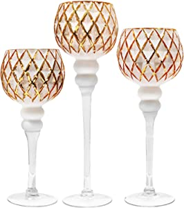"Galashield Candle Holders Set of 3 Glass Hurricane Votive Tealight and Floating Candle Stand Centerpieces for Wedding Table Gold/White (16"", 13.5"", 12"" High)"