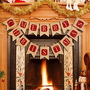Borogo Merry Christmas Banner Merry Christmas Banner Decoration for Fireplace Wall Tree Home Decoration Mantel Christmas Hanging Decor