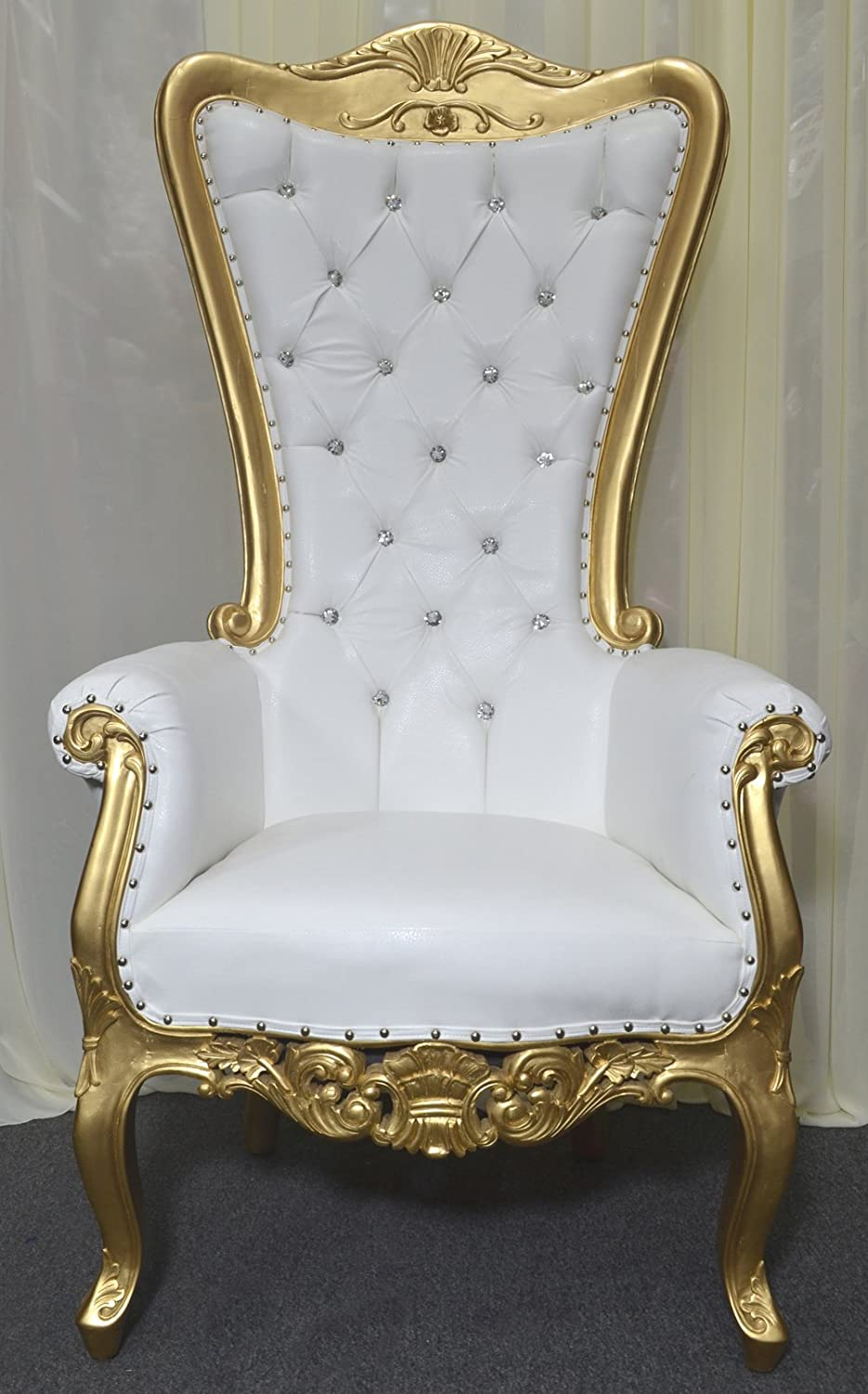 Amazon Com American Home Design Gold Baroque Hand Carved Throne Chair With White Vinyl Crystal Buttoning Kitchen Dining