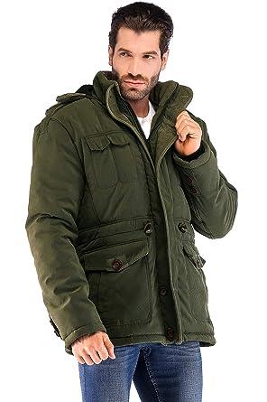 84598cb6d2 Yozai Mens Winter Jacket Coat with Multi Pockets and Detachable Fur Hood  Army Green Medium