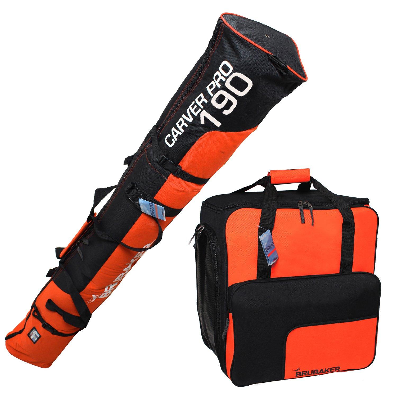 Brubaker–Vajilla (Saco de esquí y Botas de esquí Funda para 1par de esquís hasta 190cm + Bastones + Guantes + Casco Naranja Negro