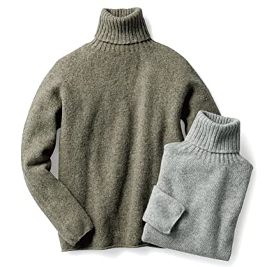 Nor'Easterly Shetland Wool Turtleneck Sweater 15-010: Oyster, Silver