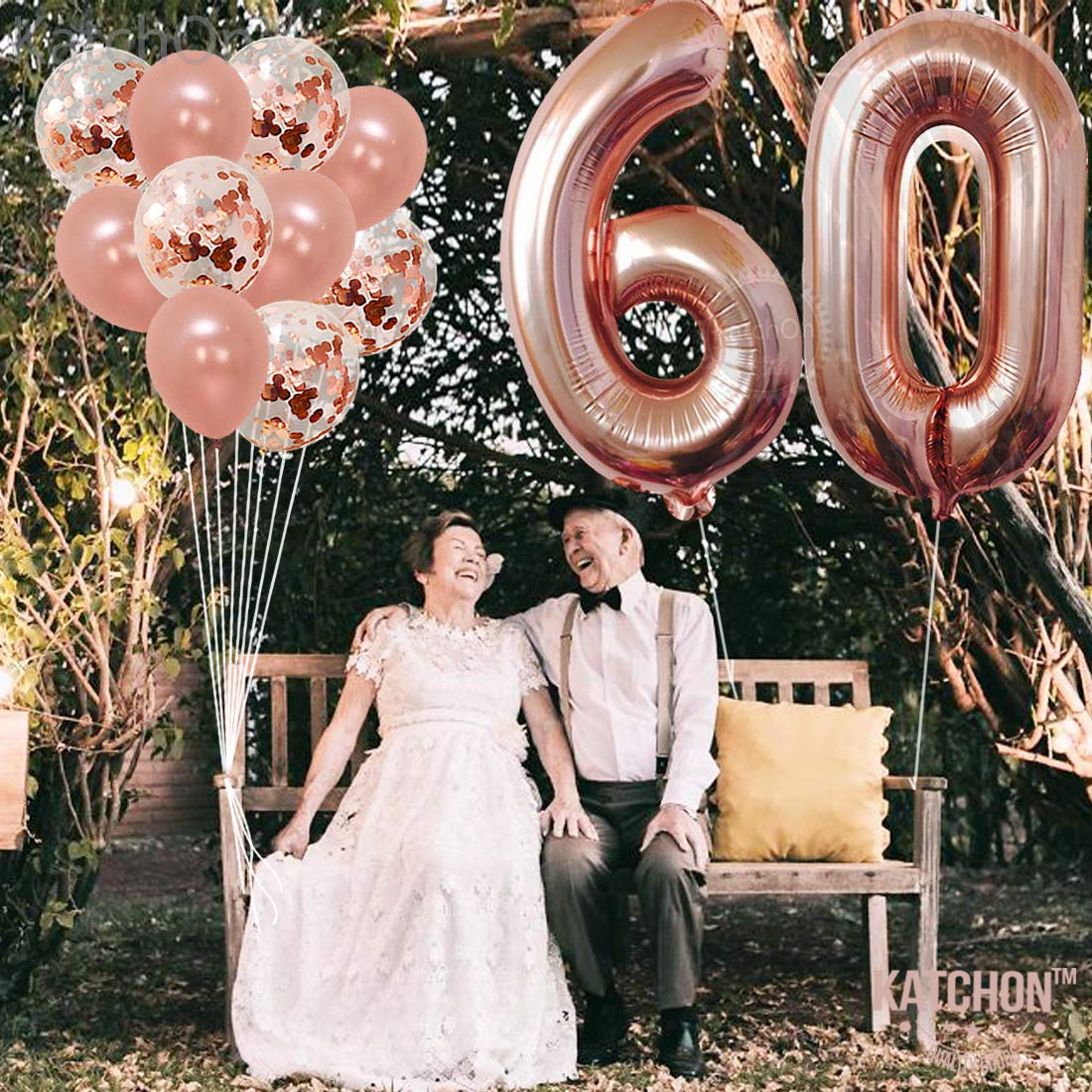 40 Inch Large 6 and 0 Mylar Rose Gold Balloons 12 Inch Rose Gold 60 Number Balloons Extra Pack of 10 Latex Baloons Great 60th Birthday Party Decorations| 60 Year Old Rose Gold Party Supplies KatchOn