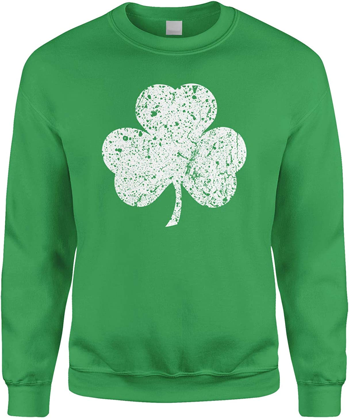 B077XBCPG1 White Three Leaf Clover St Patrick's Day Crewneck Sweatshirt 71xDxy3aIcL