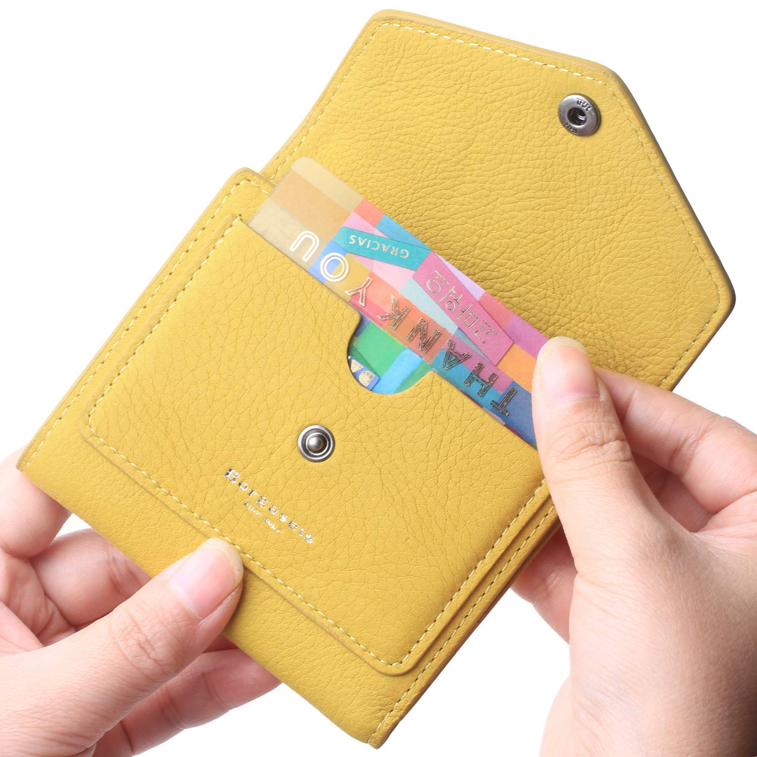 Borgasets Women's RFID Blocking Small Compact Bifold Leather Pocket Wallet Ladies Mini Purse Nubuck Yellow