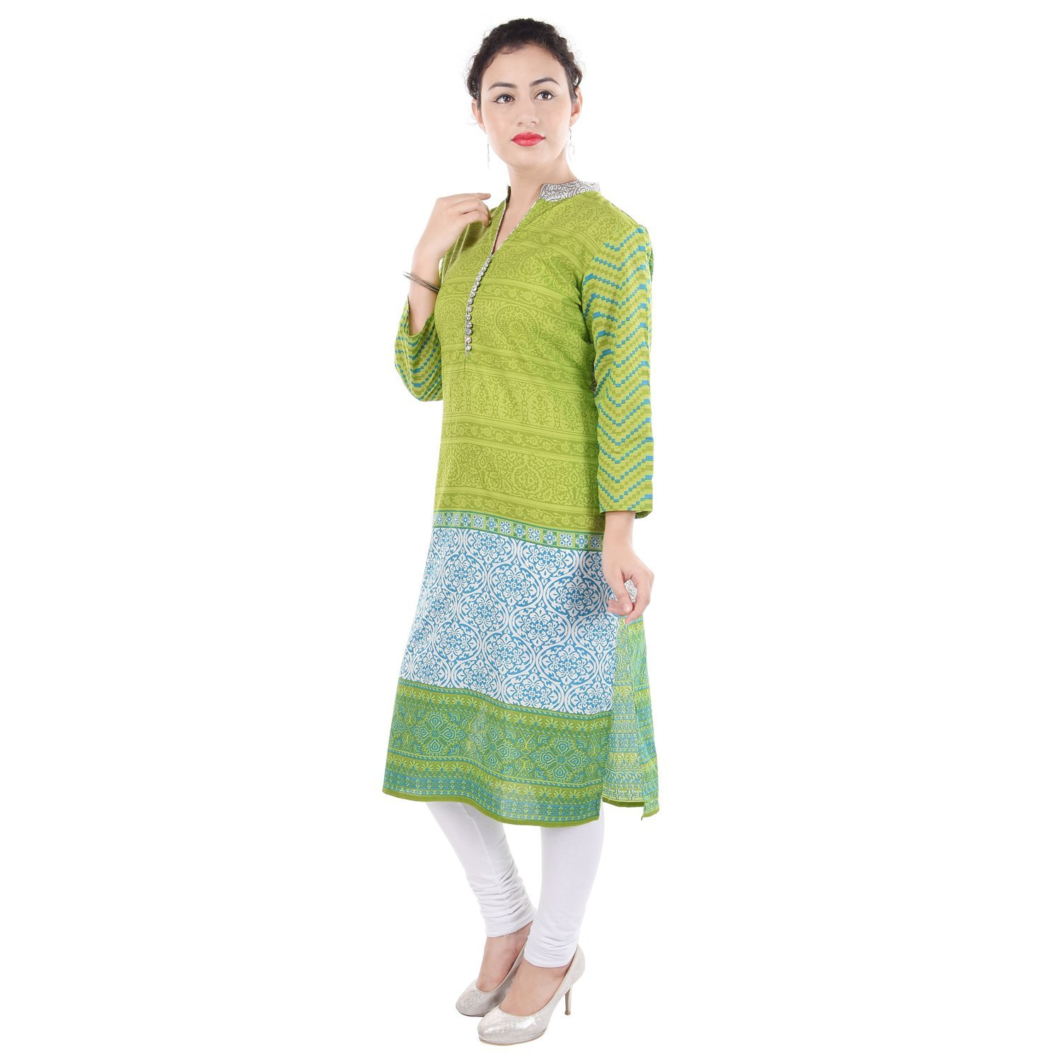 Chichi Women 3/4 Sleeve Tunic Embroidery Top Kurti Blouse (Yellow)(Women's Day Special),Medium,Fire-yellow by CHI (Image #2)