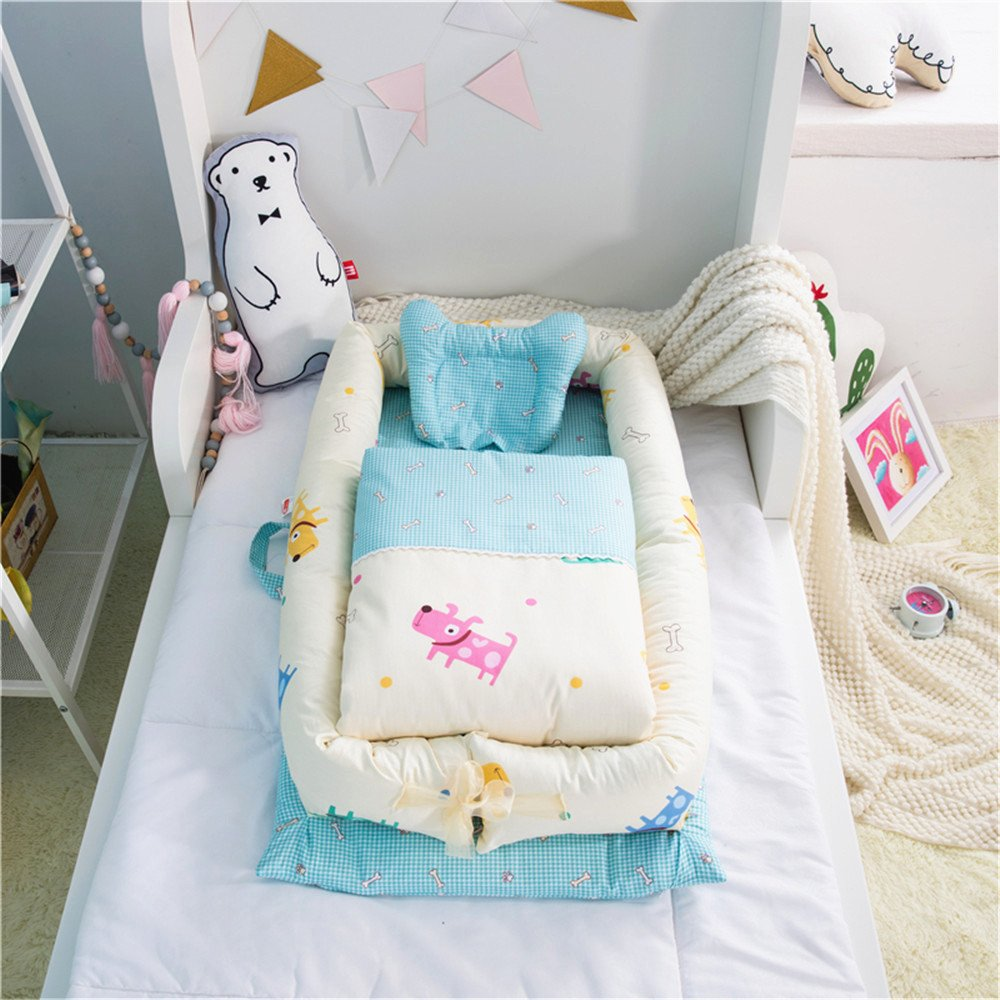 Abreeze Baby Bassinet for Bed -Cute Dog Baby Lounger - Breathable & Hypoallergenic Co-Sleeping Baby Bed - 100% Cotton Portable Crib for Bedroom/Travel