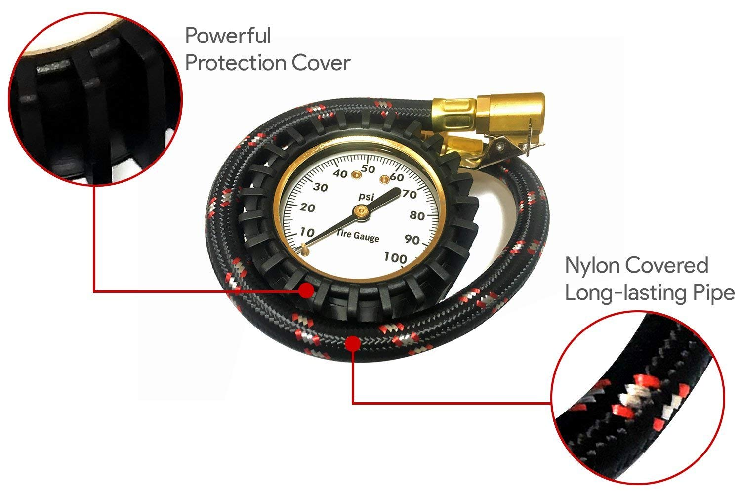 Zmotors Tire Pressure Gauge High Air Pressure Guage for All Vehicles,Heavy Duty Best for Car /& Motorcycle