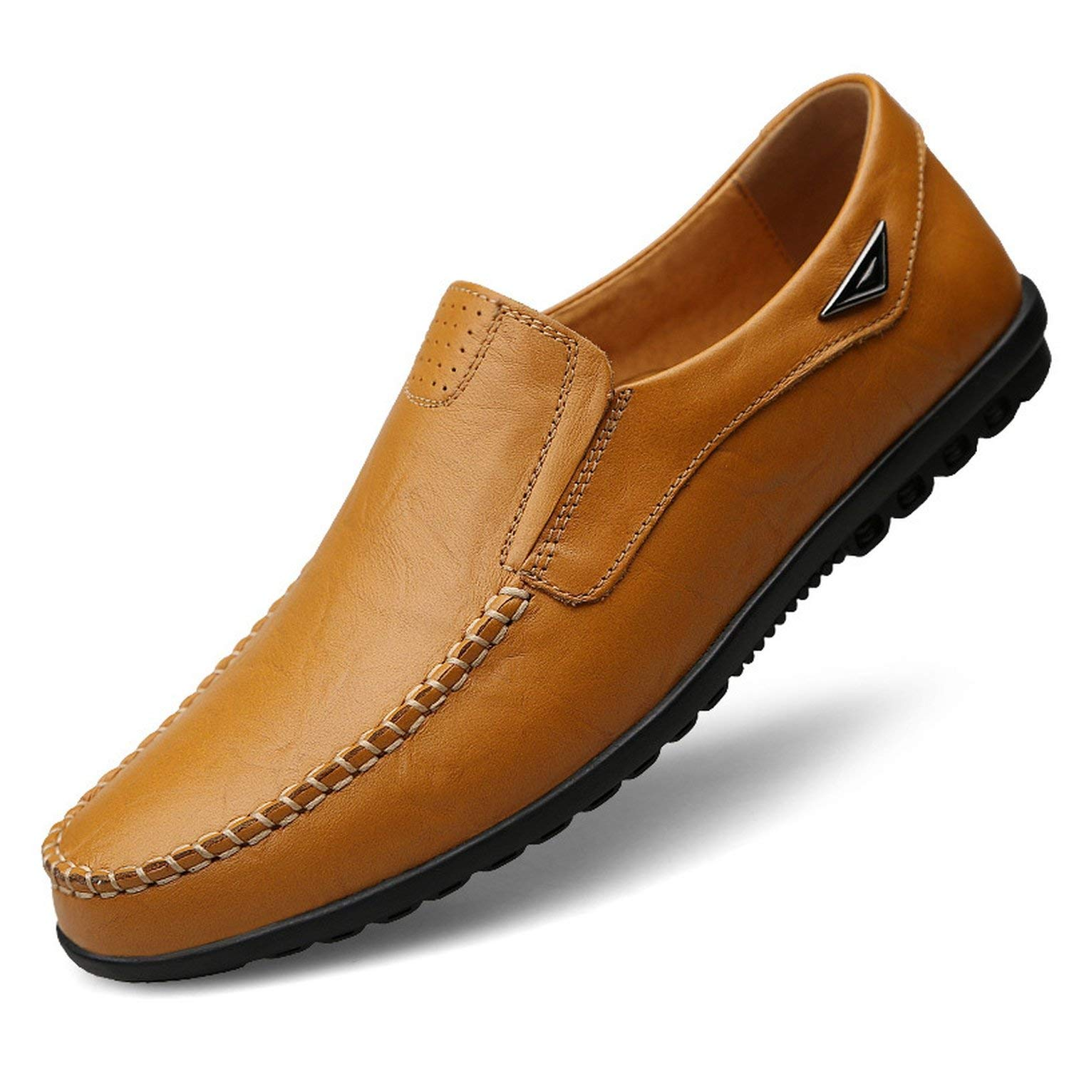 Jade clear Genuine Leather Mens Moccasin Shoes Black Men Flats Breathable Casual Italian Loafers Comfortable Plus Size 37-47 Driving Shoes,Yellow Brown,8
