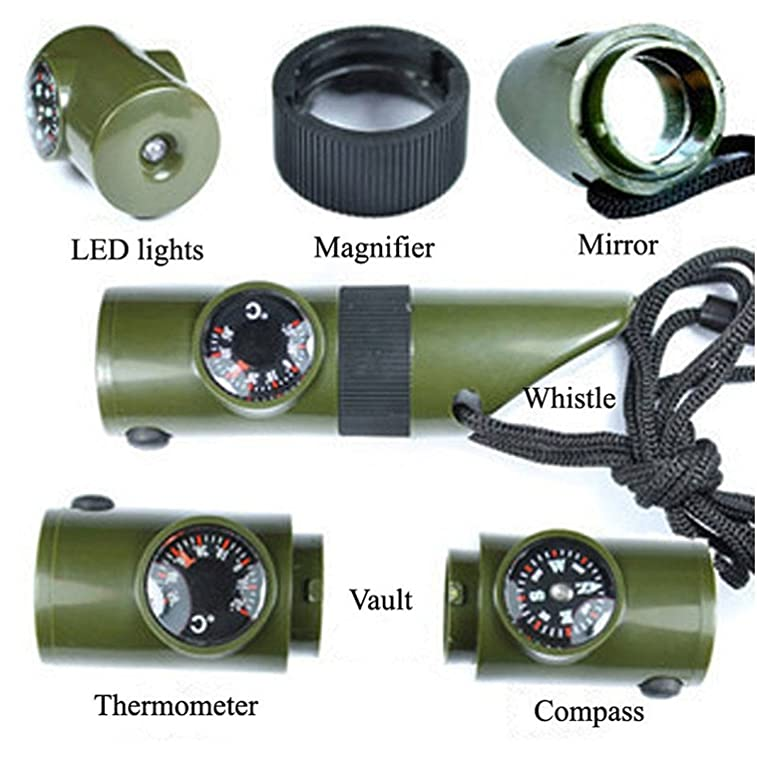Vinmax Camping Emergency Whistle Compass Thermometer Magnifier Reflector LED Flashlight - 7 in 1 Survival Guide Tools Kit for Outdoor Hiking Fishing Hunting in Army Green