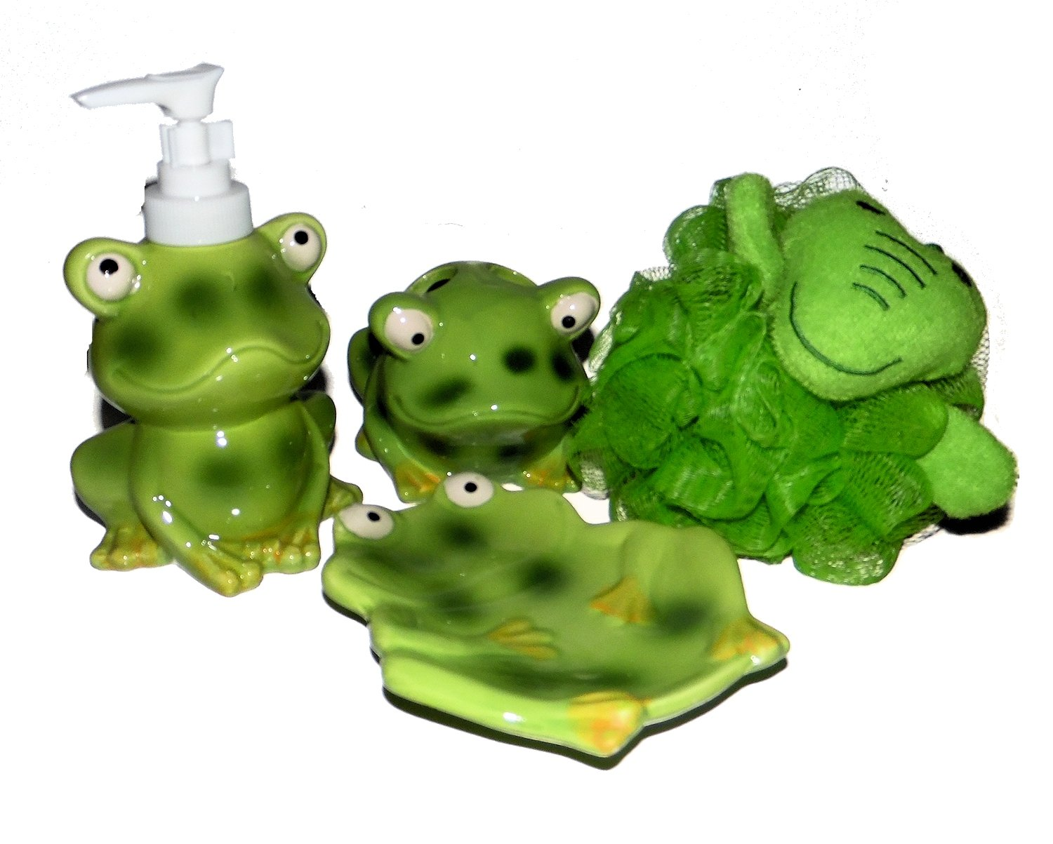Frog Bathroom Accessories - Lotion Soap Dispenser, Soap Dish, Toothbrush Holder and Bath Sponge