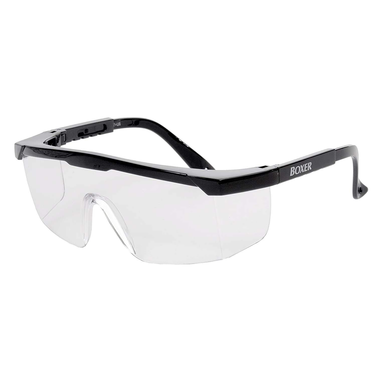 Black Frame//Clear Galeton 9230 Boxer Classic Safety Glasses with Adjustable Temples and Anti-Scratch Lenses