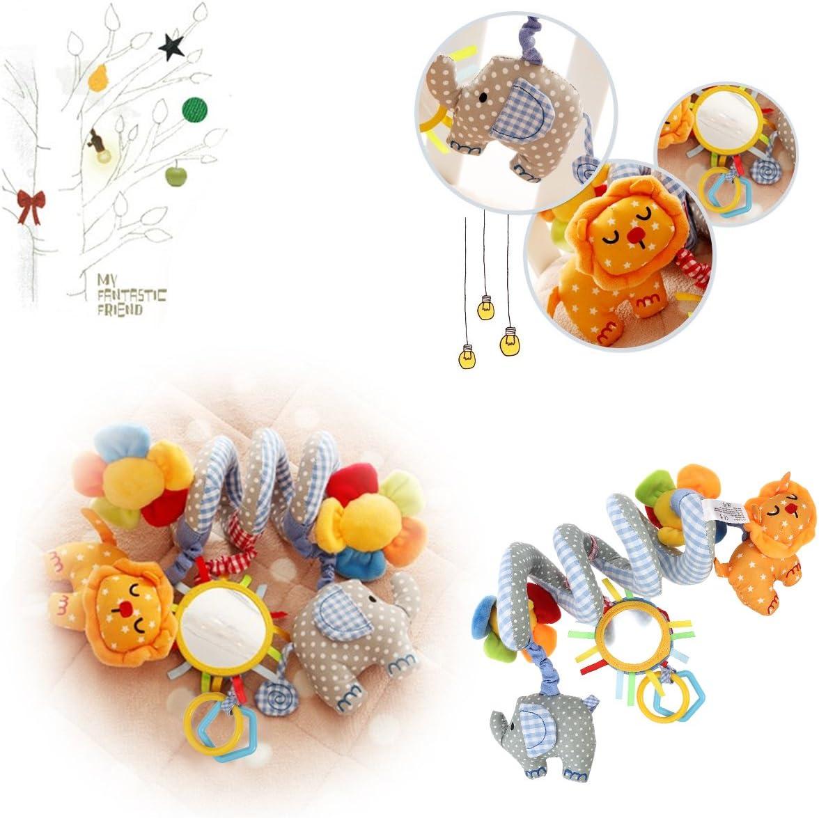 TOYANDONA Beb/é espiral juguete elepahant le/ón con espejo y campana para beb/é educaci/ón juguete espiral envolver alrededor de la cama cuna