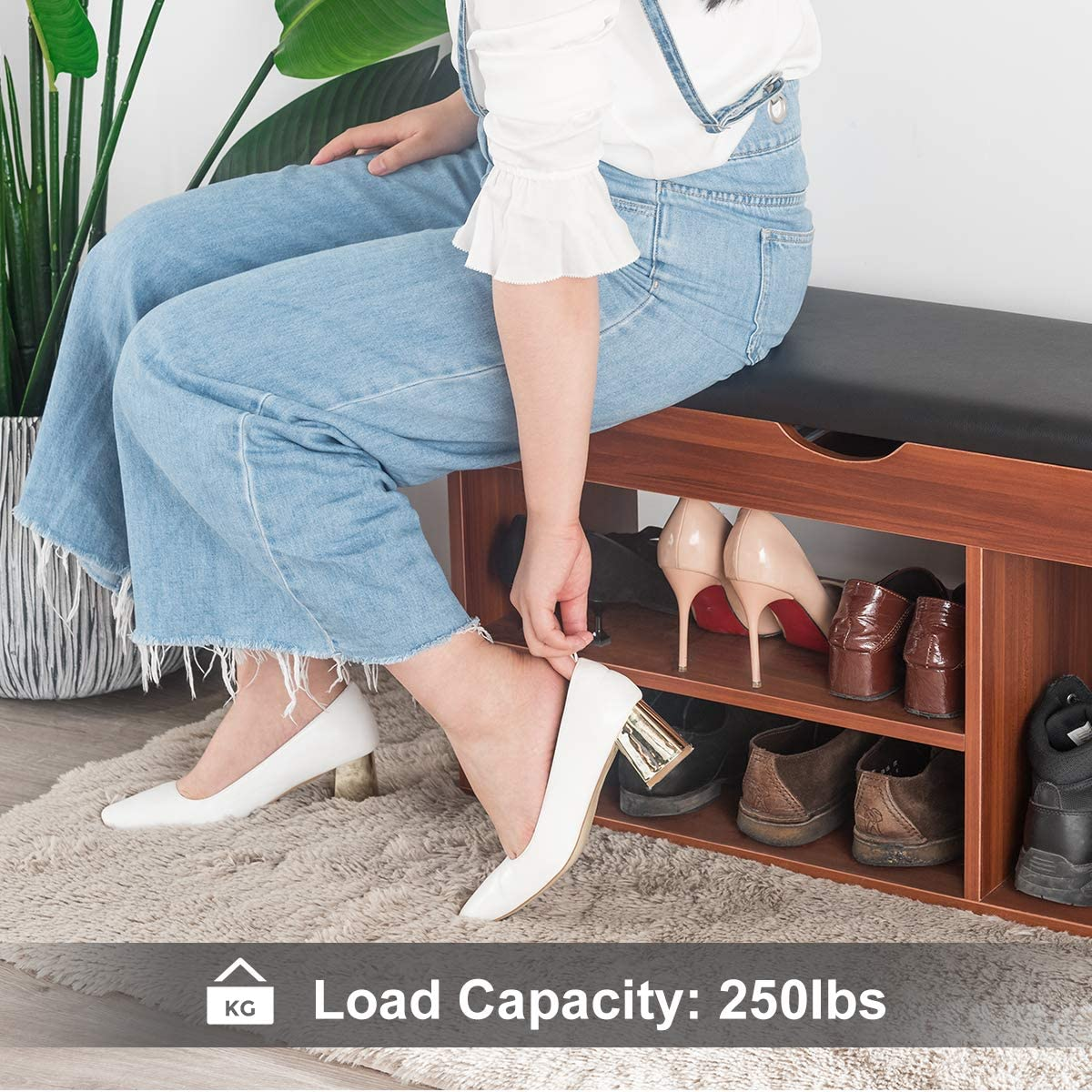 Mr IRONSTONE Shoes Bench Boot Organizing Upholstered Shoe Rack Entryway Storage, 2-Tier & 1- Hidden Compartment: Kitchen & Dining
