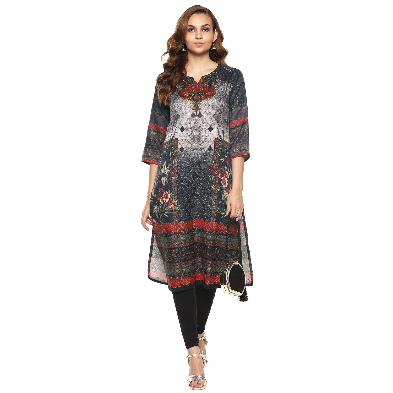 Lagi Kurtis Ethnic Women Kurta Kurti Tunic Digital Print Top Dress Casual Wear New Launch by Grey