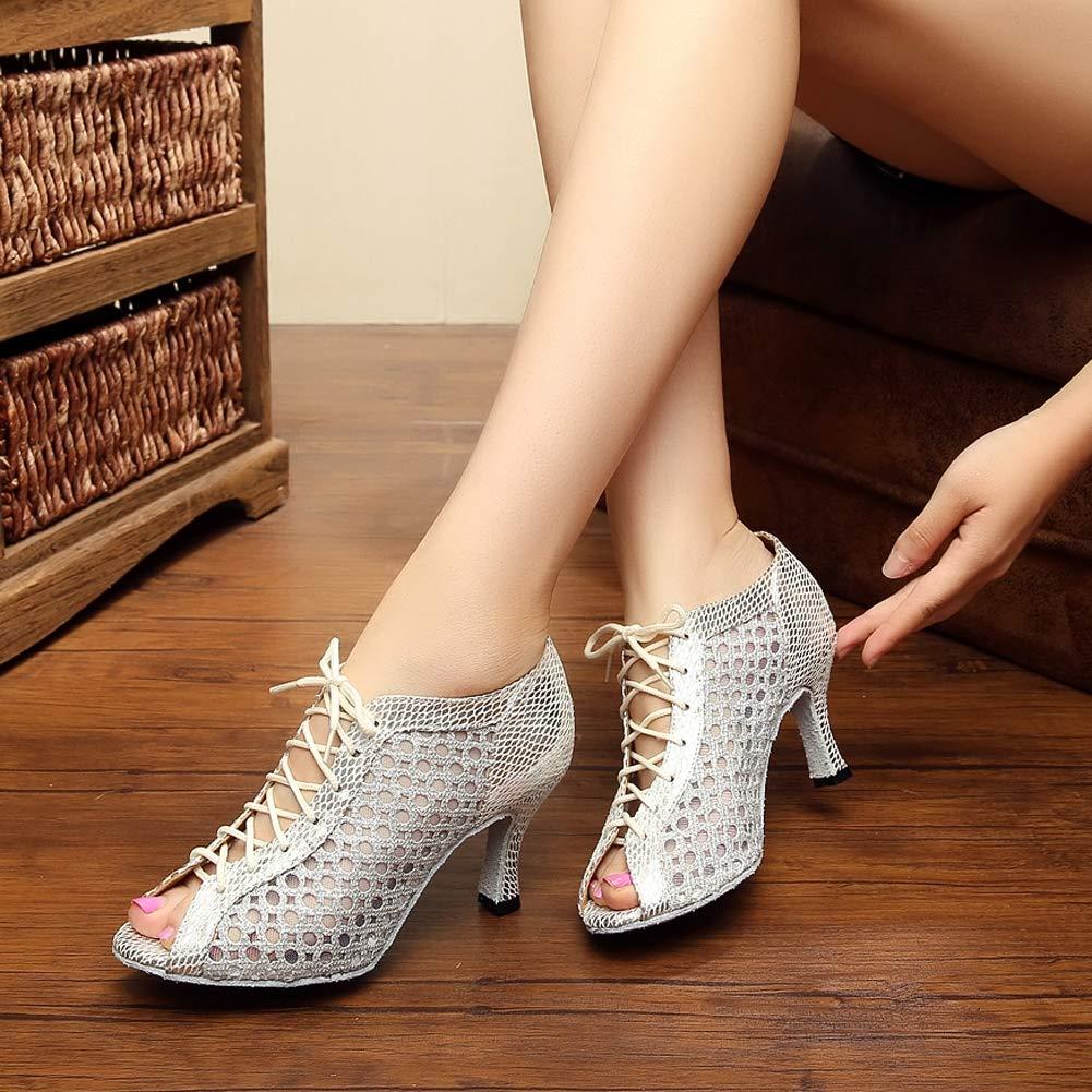 XIAOY Weibliche Ballroom Latein Latein Latein Tanzschuhe Riemchen Peep Toe High Heel Weiche Untere Schuhe  01ec00