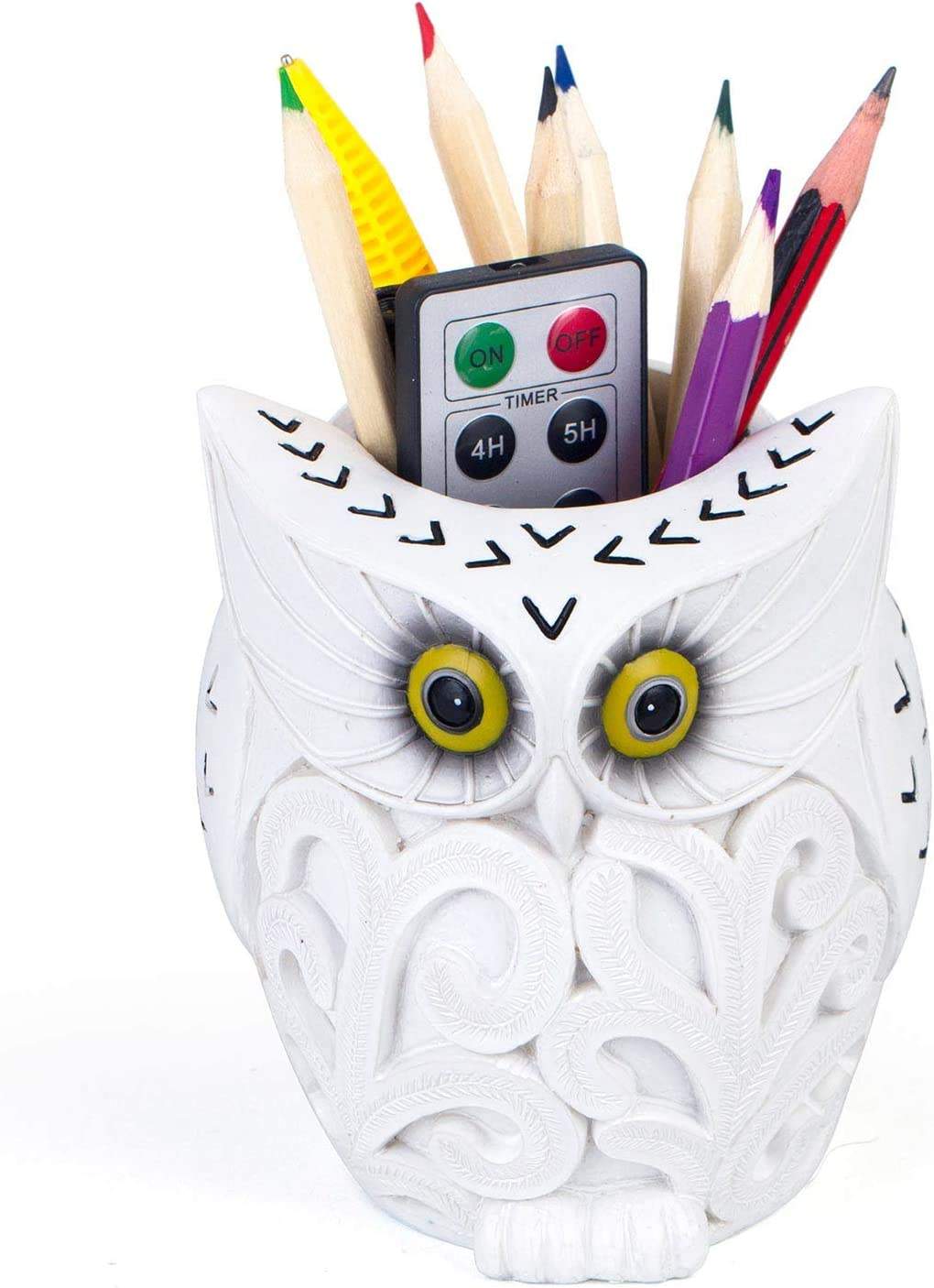 Owl Pen Holder, COOLBROS Resin Pen Holder Desk Organizer Decoration