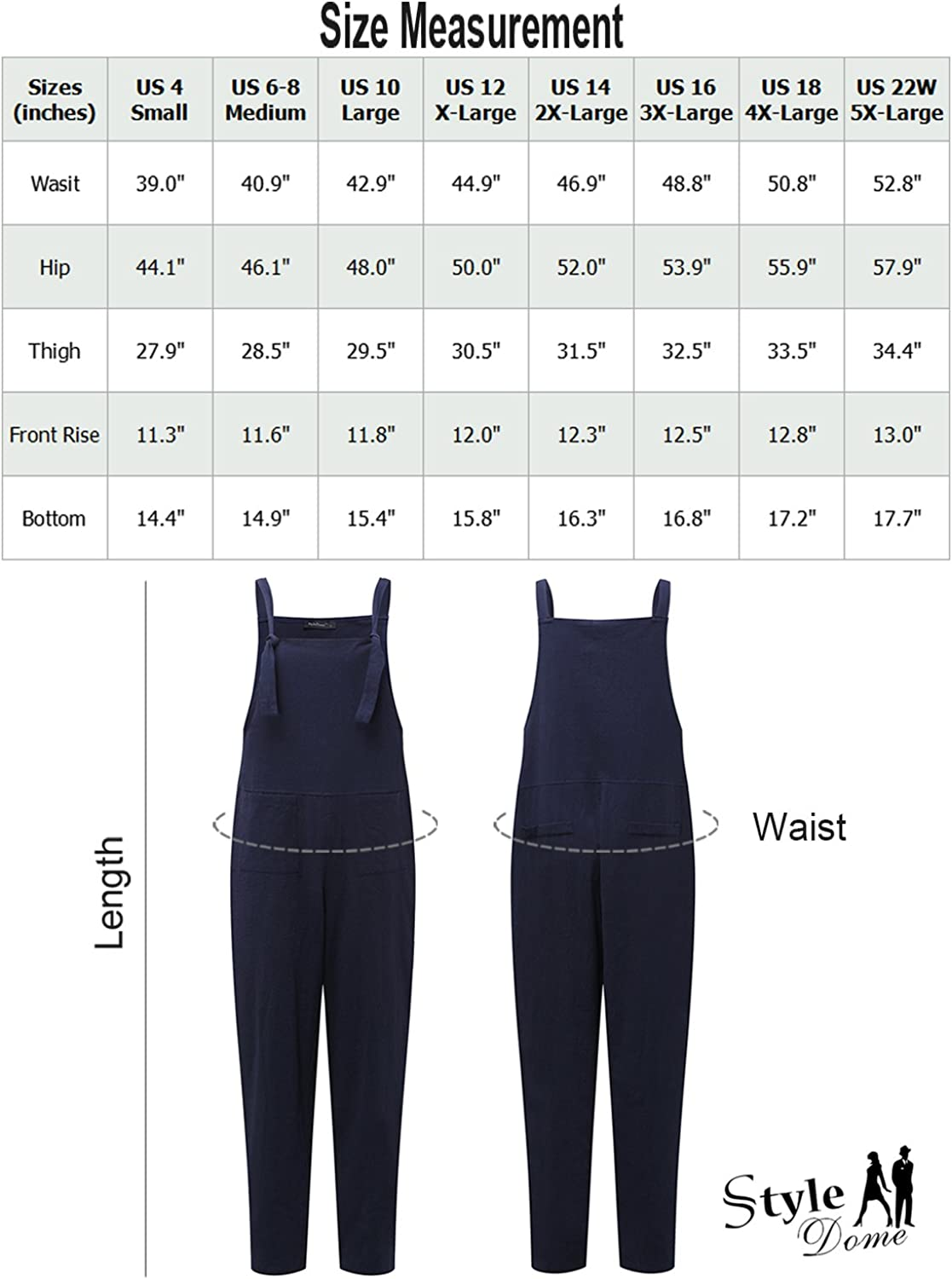 StyleDome Womens Strap Overall Pockets Long Playsuit Casual Baggy Sleeveless Pants Jumpsuit Trousers
