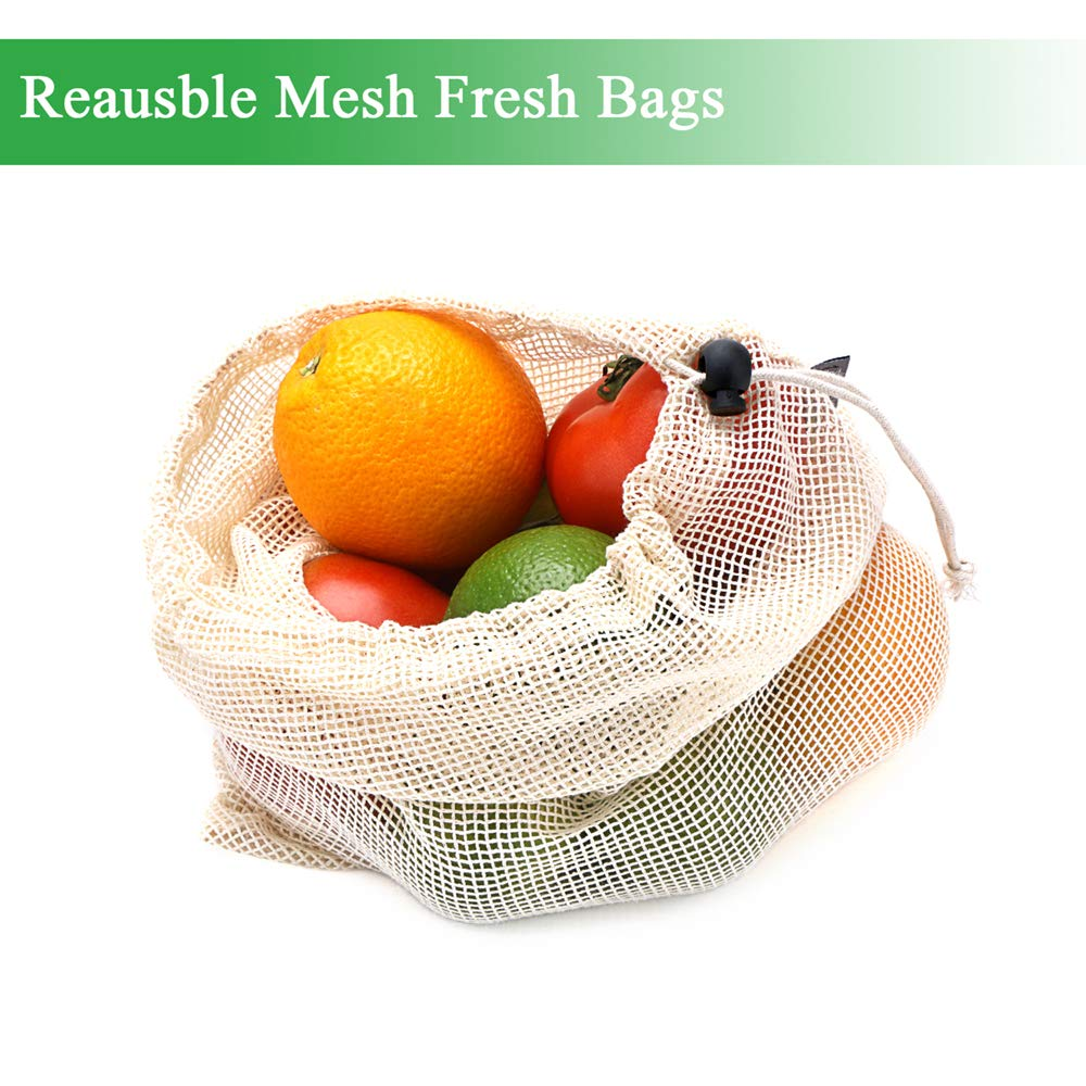 Reusable Produce Grocery Bags, Zero-Waste Eco Mesh + Organic Cotton Bag for Fruit Vegetable, 9 sets