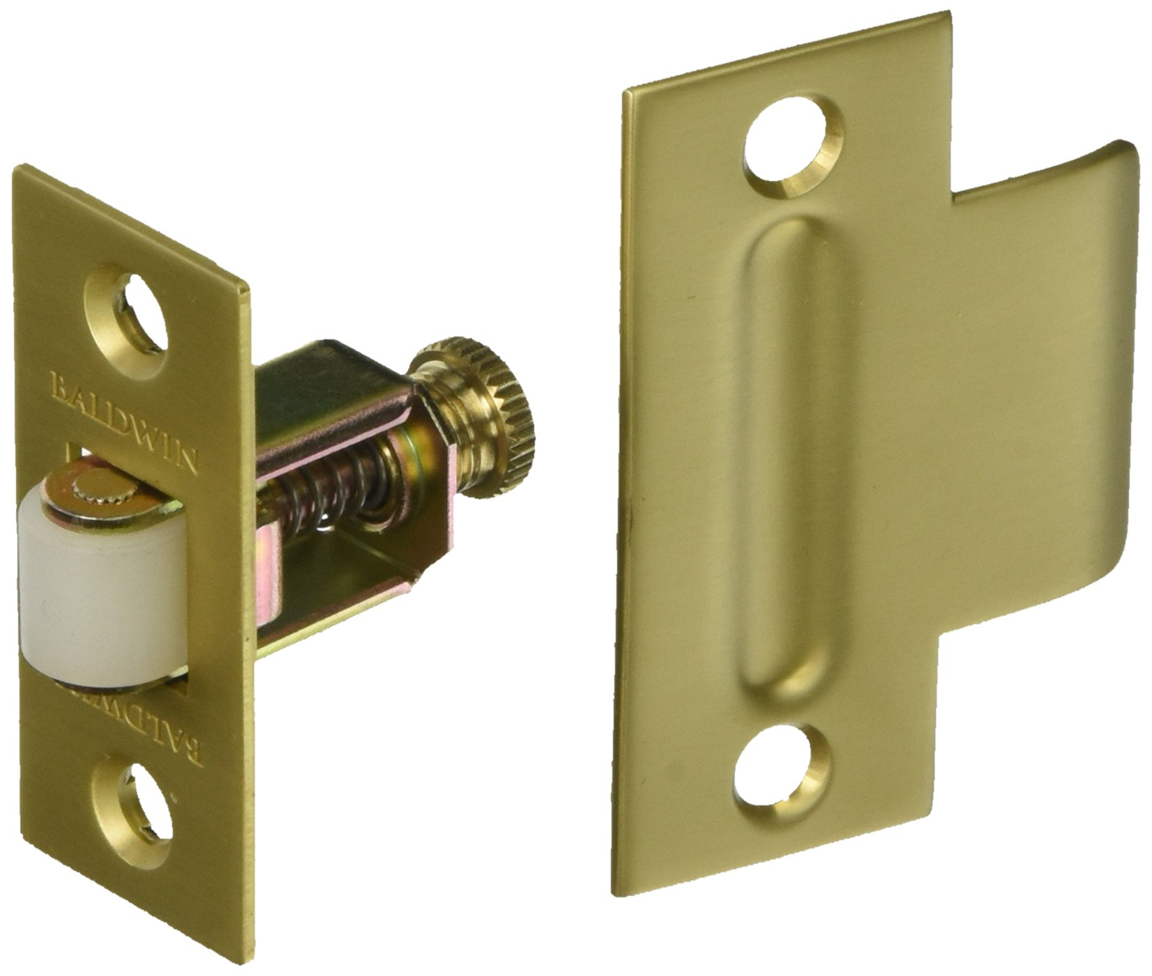 Baldwin 0440034 Adjustable Roller Catch, Unlacquered Vintage Brass