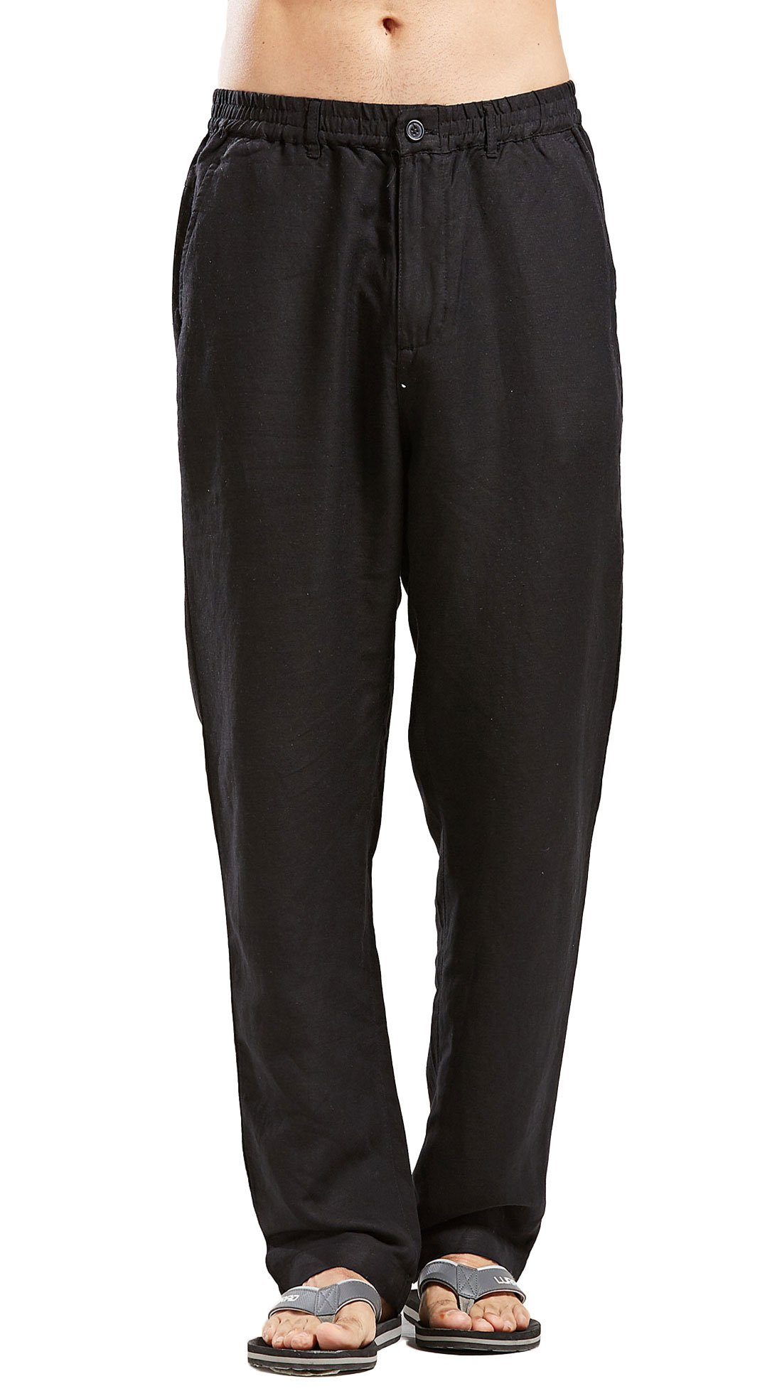 Chartou Man's Summer Casual Stretched Waist Loose Fit Linen Beach Pants (XX-Large, Black)