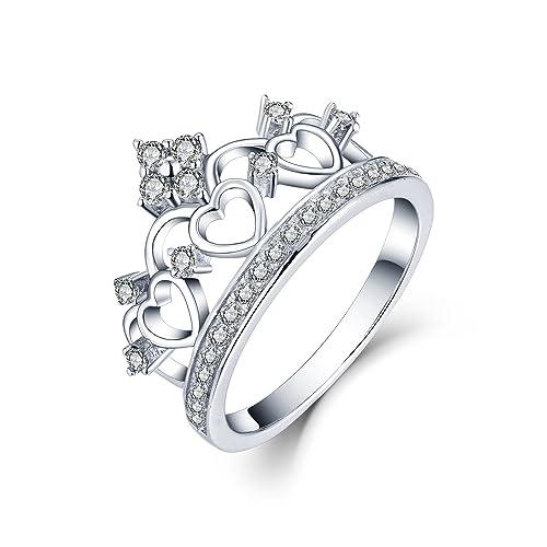 Amazon.com: CZ y plata de ley 925 Prince corazón Corona ...