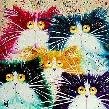Kit de pintura por número, Diy pintura al óleo dibujo abstracto Cabeza de gato lienzo con decoración de cepillos decoración regalos - 16x20 pulgadas sin ...