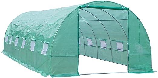 Outsunny Invernadero para Terraza o Jardín - Color Verde - Acero Polietileno - Dimensiones de 8x3x2m: Amazon.es: Jardín