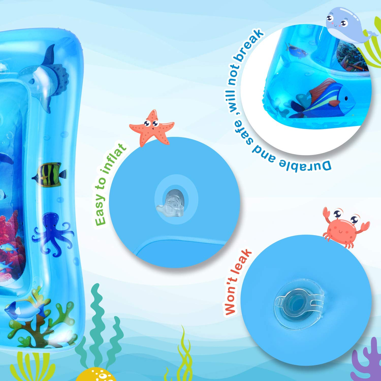 Inflatable Play Mat Infant Toy for 3 6 9 to 12 Months Baby Boy// Girl Babys Birthday Gifts LUKAT Tummy Time Baby Water Mat Baby Toys /& Toddlers Fun Activity Play Center