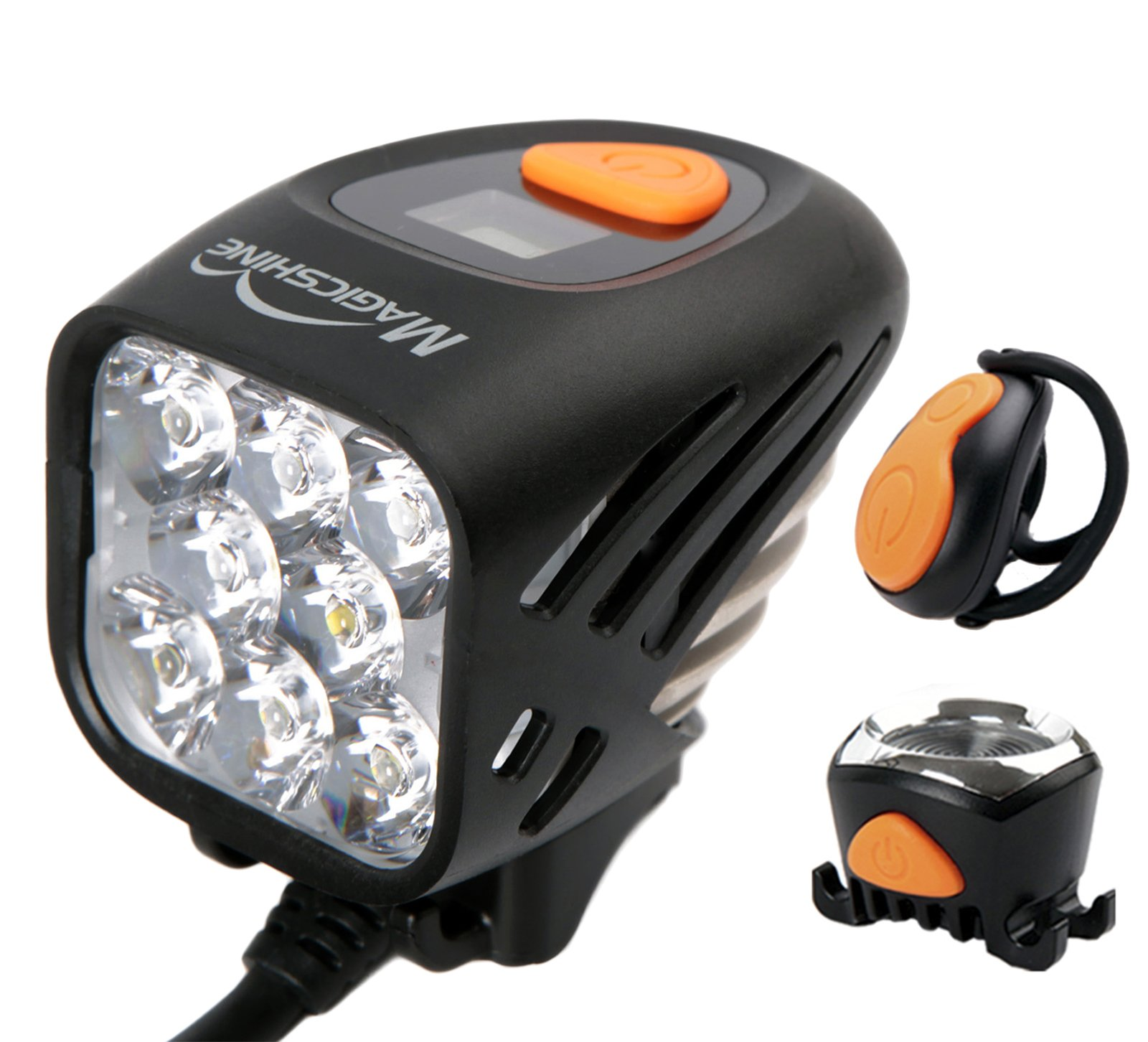 Magicshine MJ-908, High Grade MTB Enduro Bike Light Set, 8000 Lumens of Max output. Wireless Remote Bicycle Lights Front And Rear Combo, LED Bike Tail Light. Fast speed trail riding in the dark.