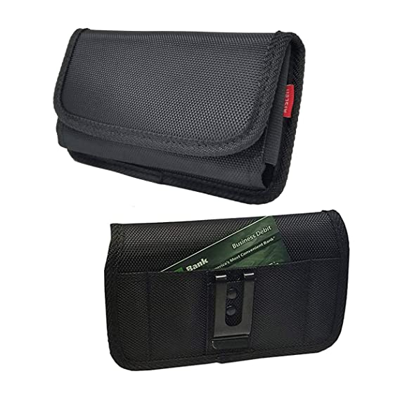 2f47768c491e AIScell Holster for Motorola Moto G7 Play, Moto X4, Moto E4 ~Ultra Tough  Side Holster Black Nylon Pouch Wallet Case with Credit Card Slot  Holder(Great ...