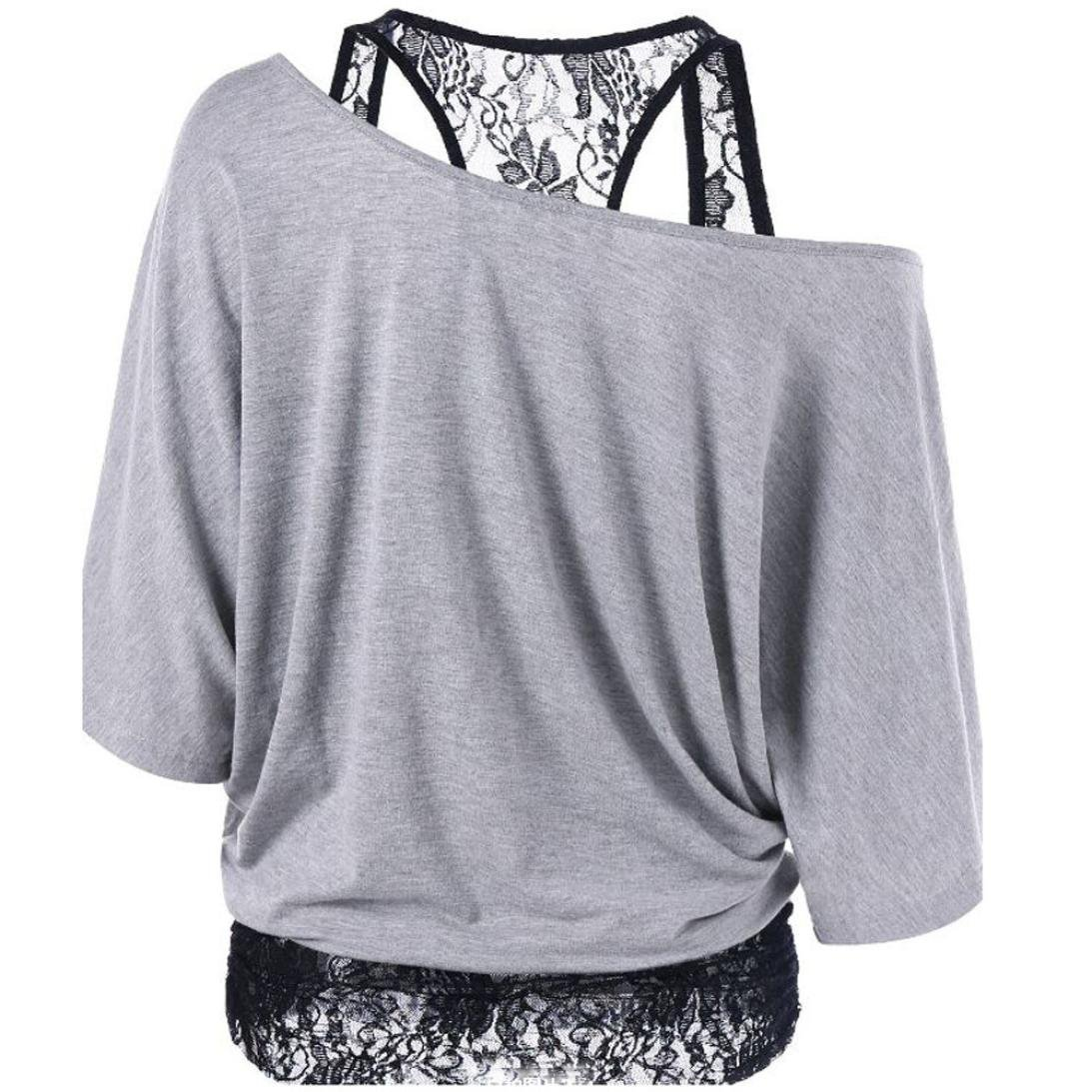 Kshion Women Lace Loose Casual Long Sleeve Tops Blouse Shirt Plus Size (XL, Gray)