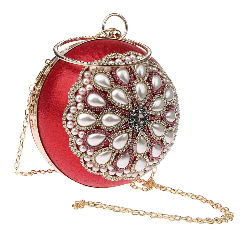 Red SM SunniMix Vintage Shiny Pearls Evening Bag Cocktail Party Clutch Crossbody for Women as described