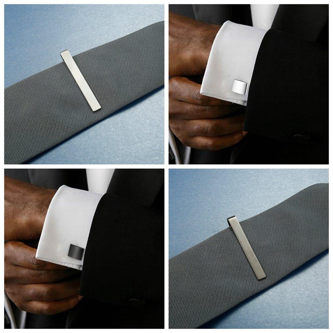 FIBO STEEL Tie Clips Cufflink Set for Men Classic Wedding Cufflinks Mens Dad Birthday Anniversary Gifts by FIBO STEEL (Image #5)