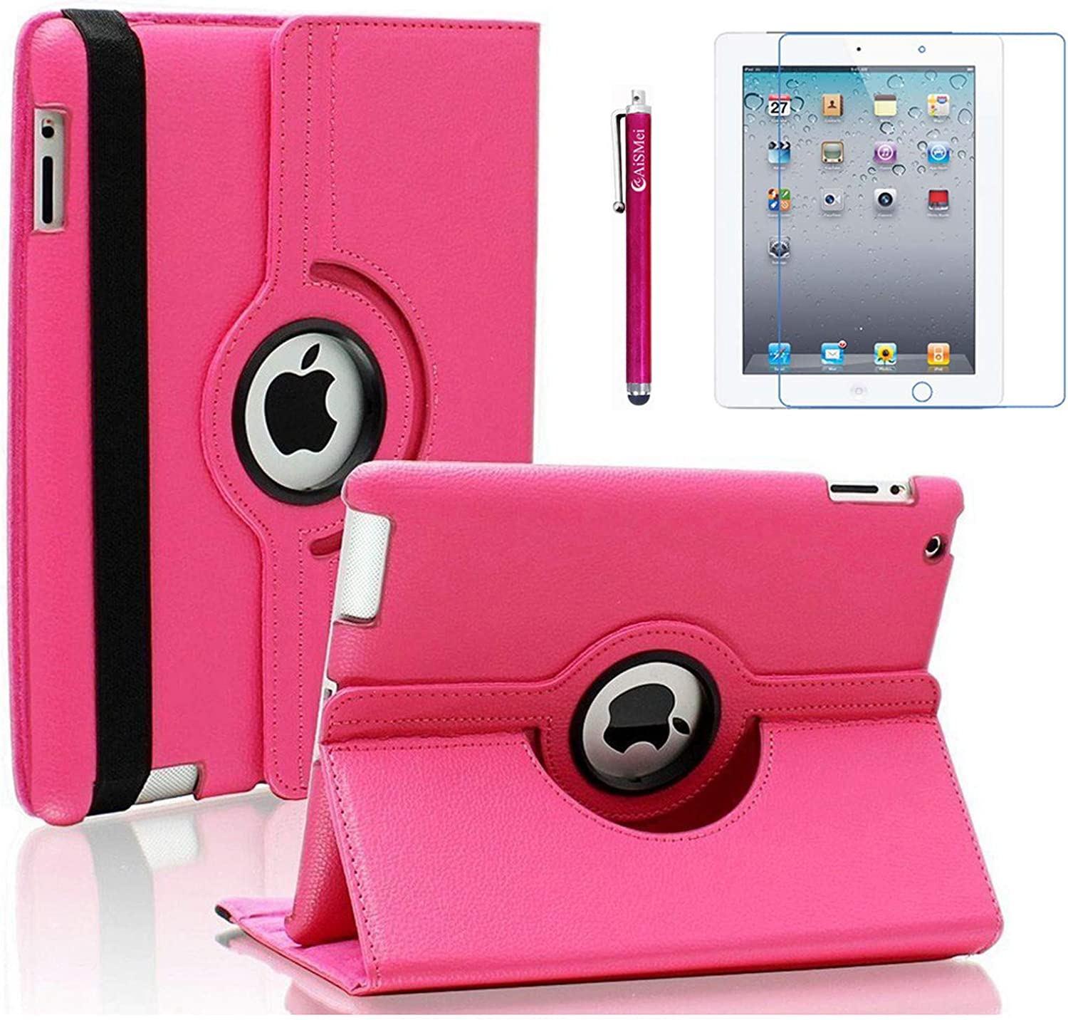 AiSMei Case for iPad 4 (2012), Rotating Stand Case Cover for 9.7'' Apple iPad A1395, A1396, A1397, A1403, A1416, A1430, A1458, A1459, A1460, Bonus Stylus + Film, Rose Pink