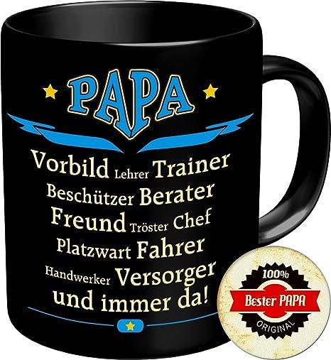 """Tasse Kaffeebecher mit Motiv//Spruch /""""Papa des Jahres/"""" ca 9,7 cm hoch in blau"""
