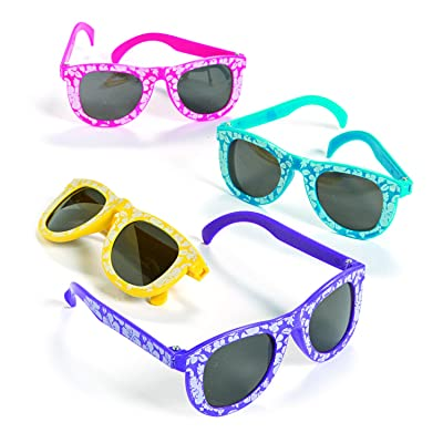 Fun Express Hibiscus Sunglasses (1 Dozen) Children's Sunglasses, Party Supplies & Favors, Pool Party Giveaways, Summer Costume Accessories: Toys & Games
