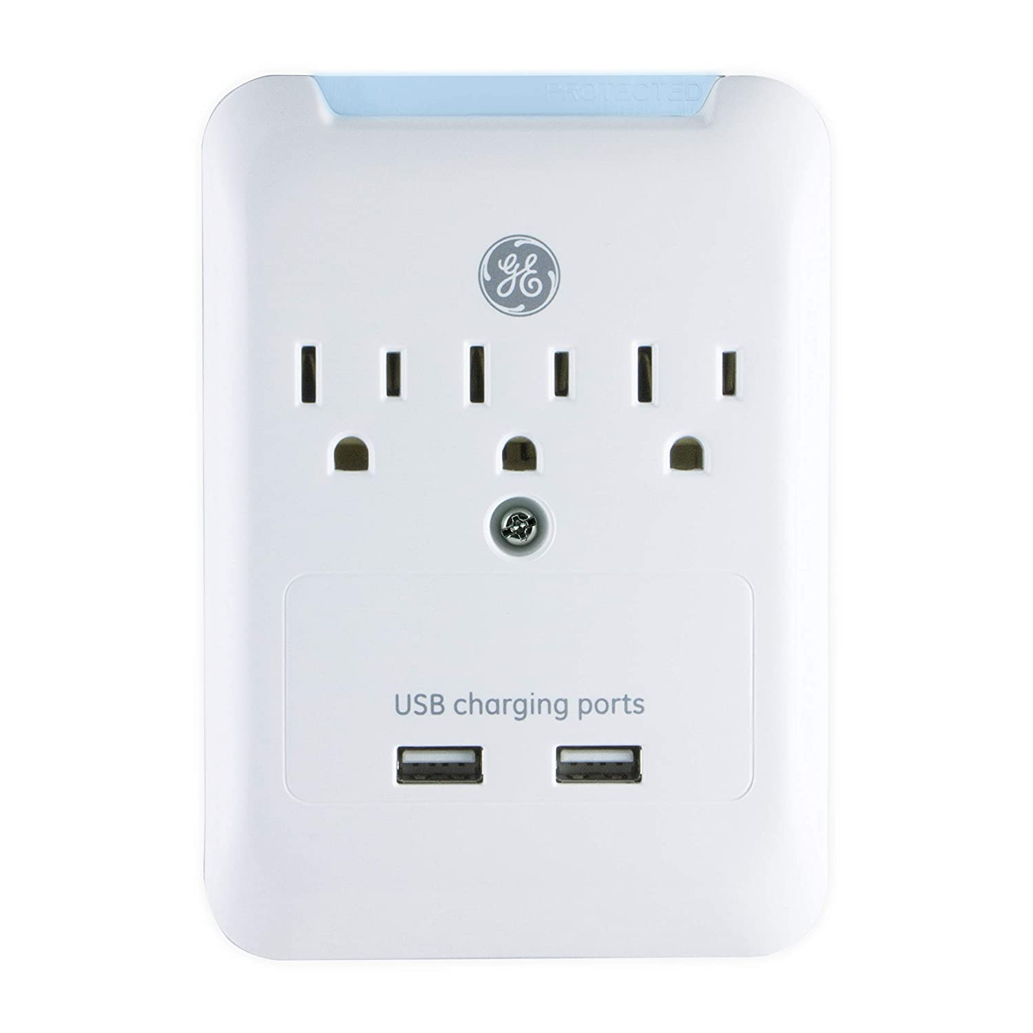 GE 2 USB 3 Outlet Surge Protector Outlet Adapter, 2.4A USB Ports, Charging Station Wall Tap, 540 Joule, Protected Indicator LED, 3 Prong, UL Listed, White, 33646